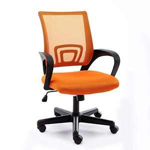 Office Mid-Back Chair Home Office Desk Chair Mesh Ergonomic Computer Chair with Streamlined Armrests Rectangular Lumbar Support and Adjustable Height Swivel Chair for Adults(Orange)