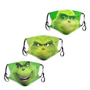 Green Grinch Different Face Mask Washable Men's Women's Adjustable Made in USA Mouth Cover Reusable 3PC with 6 Filters
