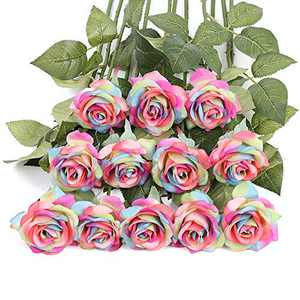 Artificial Rainbow Flowers, IPOPU 12PCS Rainbow Roses Bouquet Fake Rainbow Roses Real Touch Roses Silk Flowers for Floral DIY Home Wedding Decor Party Garden Bridal Bouquets Decorations (Rainbow)