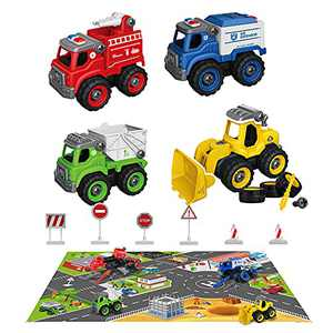 Berrysparadise Kids Truck Take Apart Trucks with Play Mat Toy Construction Vehicles with 6 Road Signs Toy Car Set Gift Toys for 3 4 5 6 Kids Boys Girls Birthday Christmas
