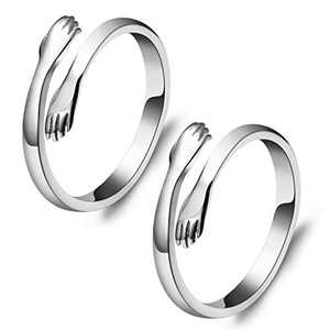 PANTIDE 2Pcs Hug Hands Rings Set for Lovers, Romantic Love Hugging Hands Adjustable Open Rings Silver Statement Hands Embrace Rings Alloy Promise Rings Jewelry Gifts for Couples Wedding Anniversary