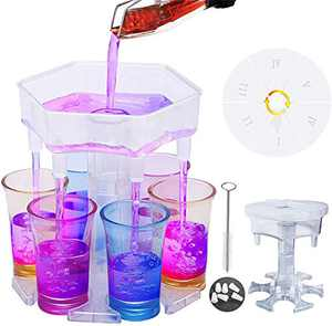 6 Shot Glass Dispenser and Holder, Multiple 6 Shot Dispenser for Filling Liquids, Carrier Caddy Liquor Dispenser with Turntable, Gifts Drinking Games for Bar Cocktail Wine Party(6 Transparent Cups)
