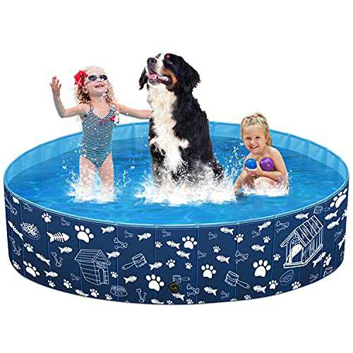 Unido Foldable Dog Pet Pool for Kids Cats, Kiddie Pool Toys for Toddlers Boys Girls Gifts, Bath Swimming Pool for Large Dogs Cats in Backyard Garden