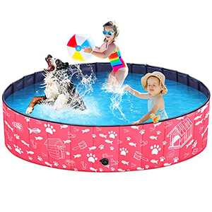 Unido Pet Dog Pool for Dogs - Collapsible Outdoor Dogs Bathing Tub Shower Water Toys Kiddie Swimming Pool for Kids Girls Cats Puppies Gifts