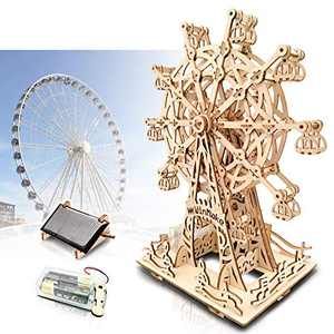 Solar 3D Wooden Puzzles for Adults and Teens,Ferris Wheel for Kids Ages 8-10-9-12-14,DIY Model Kit,Educational Puzzle Building Toys, STEM Projects Science Experiments, Craft Gift for Boys/Girls