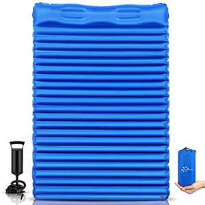 FRUITEAM Double Sleeping Pad for Camping Inflatable Sleeping Mat for Backpacking 2 Person Camping Mattress with Pillow, Better Stability and Support,Blue