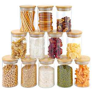 8.5oz Glass Jars Set of 12, DOPGL Spice Jars with Bamboo Airtight Lids and Labels, Food Cereal Storage Containers for Home Kitchen Tea Herbs Pasta Coffee Flour Herbs Grains