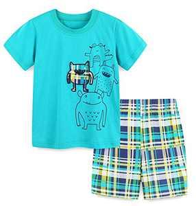 Boys Summer Short Sets Cotton Casual Crewneck Lake Blue Frog Short Tee Shirt Check Shorts Clothes Outfits Sets 4T
