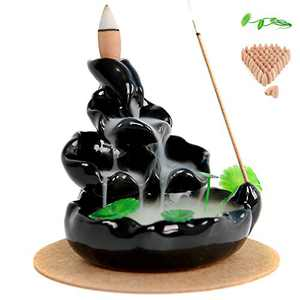OCIOLI Ceramic Incense Holder with 60 Incense Cones Waterfall Incense Burner Incense Stick Holder for Home Decor Aromatherapy Ornament.