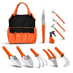 BNCHI Gardening Tool Set, 11 Pieces of Stainless Steel Garden Tools, with Portable Gardening Tool Bag, Anti-Rust Ergonomic Handle, for Men and Women (Silver and Orange)