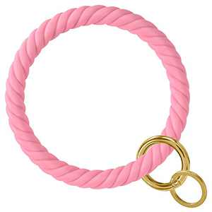 Large Silicon Key Ring Bracelet, YUOROS Pink Keychain Circle Key Ring for Wrist (Pink)