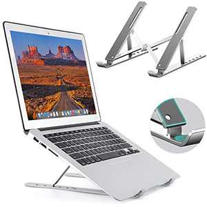 Adjustable Laptop Stand, Portable Computer Laptop Riser, Aluminum Laptop Holder with 6 Levels Height Adjustment, Fully Collapsible Laptop Mount for MacBook, HP, DELL Supports 14, 15.6, 17inch Lap