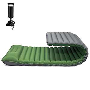FRUITEAM Sleeping Pad for Camping Inflatable Sleeping Mat for Backpacking Camping Mattress with Pillow, Better Stability and Support,Green