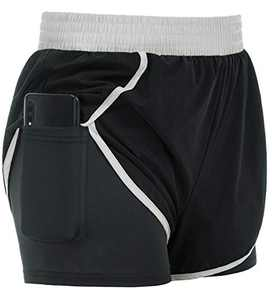 Womens Breathable Spandex 2 in 1 Shorts Lightweight Solid Hot Sweat Shorts 2XL