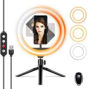 "EdorReco 10"" Ring Light with Tripod Stand & Phone Holder, Desktop LED Selfie Ring Light for Makeup, YouTube Video Streaming Equipment, Photography, Adjustable 3 Light Modes & 10 Brightness Levels"
