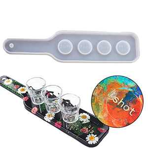 Shot Glass Serving Resin Tray Mold Shot Glass Holder Uv Resin Molds 4 Holes Resin Molds Silicone Tray for Shot Glasses Silicone Tray Molds for Beer Flights Set Party Home Decor