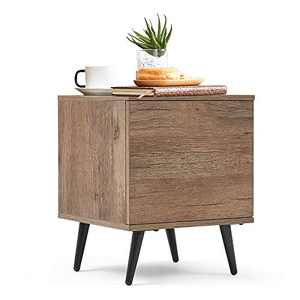 LINSY HOME Mid-Century Modern Wood End Table with Switchable Door, Accent Side Table for Small Spaces, Small Cabinet for Living Room, Nightstand for Bedroom, Bedside Table, Brown