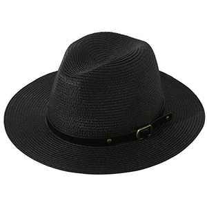 Lanzom Unisex Kids Girls Boys Summer Straw Hat Wide Brim Floppy Beach Sun Visor Hat (A-Black, 4-6 Years)