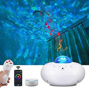 Smart Galaxy Star Projector with Nebula,Alexa & Google Home Compatible APP/Voice Controlled Space Starlight Projector,Room Decor Kids Night Light for Bedroom/Bar/Party (Ocean Wave Projector)