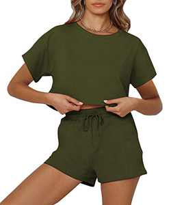 OLYCN Womens Pajama Sets Short Sleeve Crop Top and Shorts Loungewear 2 Pieces Outfits Sweatsuit Sets Green X-Large