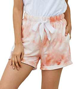 LIUMILAC Women Summer Beach Shorts Juniors Folded Hem Pink Tie Dye Shorts with Pockets 2L