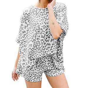 Exlura Womens Leopard Printed Pajamas Set Short Sleeve Pj Sets Night Shirt with Shorts Loungewear Nightwear Grey