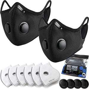 BASE CAMP M Plus Dust Face Mask with Smart Valves 2 Pack with 6 Activated Carbon Filters