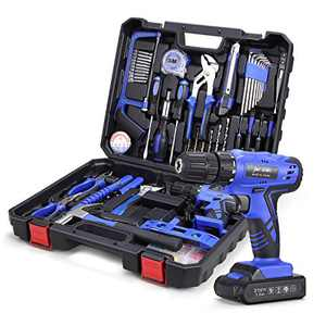 112 Piece Power Tool Combo Kits with 21V Cordless Drill, Professional Household Tools Set with DIY Hand Tool Kits for Garden Office Home Repair Maintain-Blue
