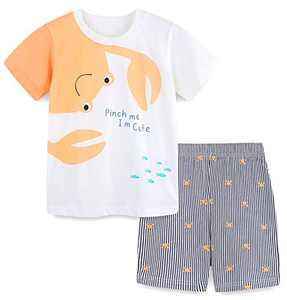 Boys Summer Short Sets Cotton Casual Crewneck White Crab Short Tee Shirt Stripe Shorts Clothes Outfits Sets 5T