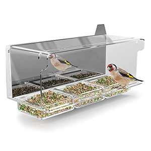 FifthStart Bird Feeder for Window with Scare Free Two-Way Reflector and a Removable Restriction Door - Window Bird Feeder with Strong Suction Cups - Clear Window Bird Feeders for Outside