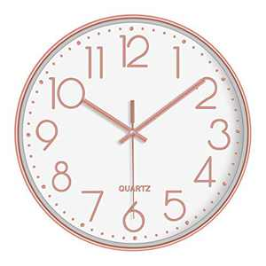 LAMIKO Wall Clocks Non-Ticking Silent 12 Inch Battery Operated Quartz Decro Clock Easy to Read for Bedroom/Home/Kitchen/Room/Office/School, Rose Gold