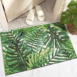 """DECOMALL 2'x3' Door Mat Small Outdoor Rugs for Porch Patio Balcony Deck Yard, Tropical Plants Palm Leaf, 24""""x36"""""""