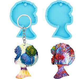 2 Pieces Afro Female Silicone Molds for Resin, Afro Lady Head Resin Tray Mold, Craft Keychain Mold for DIY Craft Keychain Necklace Charms Epoxy Resin Jewelry Making