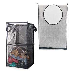 Mesh Clothes Hamper Set of 2, Double Laundry Basket, Collapsible&Pop-up Laundry Hamper(12.6''x12.6''x25.2'') and Hanging Laundry Basket for Organizing Laundry Room, Bathroom, Bedroom(30.3''x21.7'')