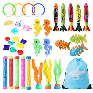 Diving Toys, Swimming Pool Diving Toys for Kids, 37pcs Toys for Pool, Toddler Pool Toys for Kids 3-10: Pool Rings, Dive Sticks, Shark Toys, Pool Gems Kids Pool Toys Water Toys Bath Toys