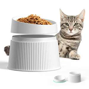 uahpet 17° Elevated Cat Food Bowls Food-Grade Material Raised Cat Bowl with Silicone Pet Mat for Protecting Cat's Spine Reliefing Whisker Fatigue and Anti-Vomiting Cat Dish