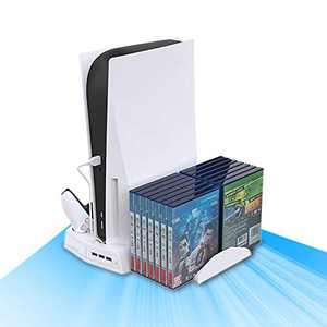 Vertical Stand for Playstation 5 with Cooling Fan Charging Station for PS5 Digital/CD-ROM Edition Console with 14 Game Storage Organizer 3 USB Port for PS5 and DualSense (White)