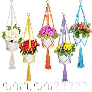 Aisto 5 Pack Colorful Macrame Plant Hanger with Hooks Set Cotton Rope Hanging Plant Holder Indoor & Outdoor Decor Bundle with Ceiling Hooks & S Hooks