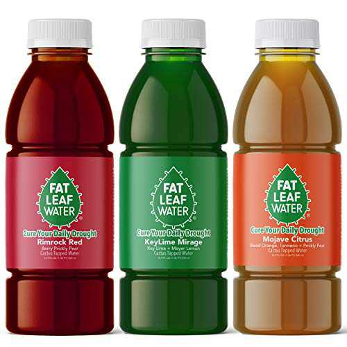 Fat Leaf Water Variety 3 Pack of Prickly Pear Cactus Juice, and Taurine Sports Hydration Beverage with Key Lime Mirage, Mojave Citrus, and Rimrock Red Flavors (3 Bottles - 1 of Each Flavor)