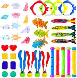 Diving Toys, Swimming Pool Diving Toys for Kids, 40 PCS Toys for Pool, Pool Toys for Kids: Pool Rings, Dive Sticks, Shark Torpedo Pool Toy, Pool Gems Gift for Boys and Girls