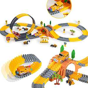 221PCS Race Car Track for Kids, STEM Building Bendable Trains Tracks with 2 Light Up Race Trucks and 3PCS Construction Car, Toy Cars Set for 3 4 5 6 Year Old Boys and Girls Best Gift
