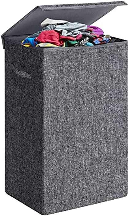 Viwril Laundry Basket with Lid, 68L Large Collapsible Laundry Hamper with Handles Foldable Laundry Bags Laundry Storage Organiser for Bathroom,Toys Clothes, Grey, Large