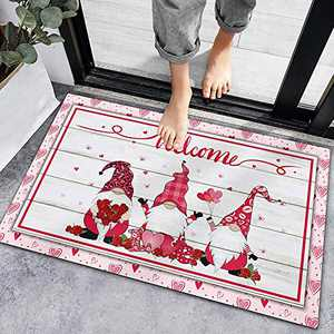 Valentine's Day Welcome Doormat Heart Sweet Love Indoor Outdoor Entrance Home Front Porch Rugs Romantic Housewarming Greetings Gift Decoration Supplies 60x40 (G)