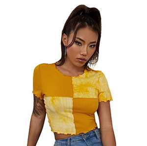 SweatyRocks Women's Tie Dye Colorblocked Lettuce Trim Tee Seam Front Round Neck Short Sleeve Crop Top Yellow L
