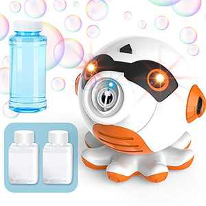 OleFun Bubble Machine Octopus Bubble Blower 1000 Bubbles Per Minute, Automatic Outdoor Bubble Maker Toy Gift for Age 3+ Kids Boy Girl Toddler, Bubble Solution Included