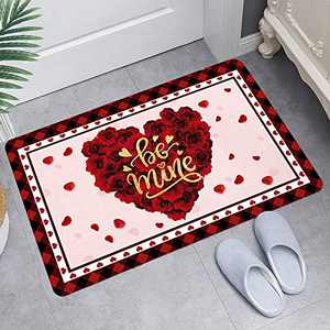 Valentine's Day Welcome Doormat Heart Sweet Love Indoor Outdoor Entrance Home Front Porch Rugs Romantic Housewarming Greetings Gift Decoration Supplies 60x40 (D)