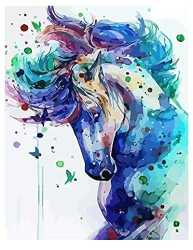 DIY Oil Painting Kits by Number for Adult Kids Students for Home Wall Decor 16 x 20 inch Horse on Canvas Acrylic Paint Colorwork Art Craft Drawing Decoration