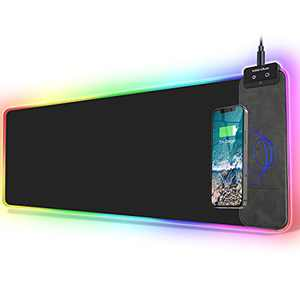 FutureCharger RGB Gaming Mouse Pad with Wireless Charger, Soft Keyboard Pad, Larger Extended Mouse Pad, Non-Slip Rubber Base Computer Mouse Pad, Desk Mat for Laptop/Office/Home 31.49x11.81inch-Black