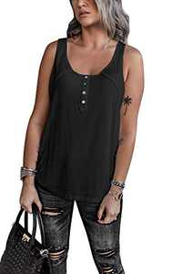 OWIN Women's Summer Sleeveless Henley Tank Tops Scoop Neck Ribbed Button Up Shirts Casual Vest Blouse Tees Black