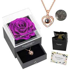 Preserved Real Rose with Love You Necklace in 100 Languages Gift Set, Gifts for Women, Valentine's Day, Mother's Day,Anniversary, Birthday, Wedding,Flower, Roses,Love (B Purple)